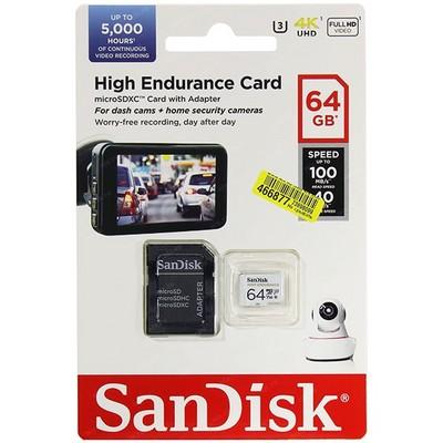 MicroSDXC 64GB SanDisk U3 4K UHD 100MB/S HIGH ENDURANCE CARD - фото 15449