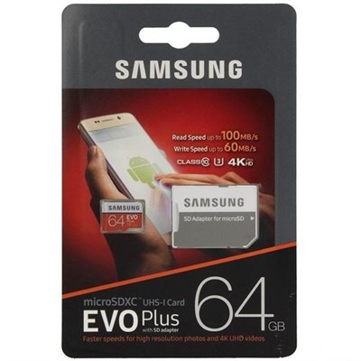 MicroSDXC 64GB Samsung Class10 U3 Ultra UHS-I EVO Plus 100MB/s - фото 13029